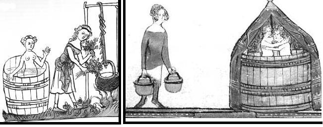 A sinistra, il bagno magico di Medea; a destra, il bagno della coppia, 1338-1344.