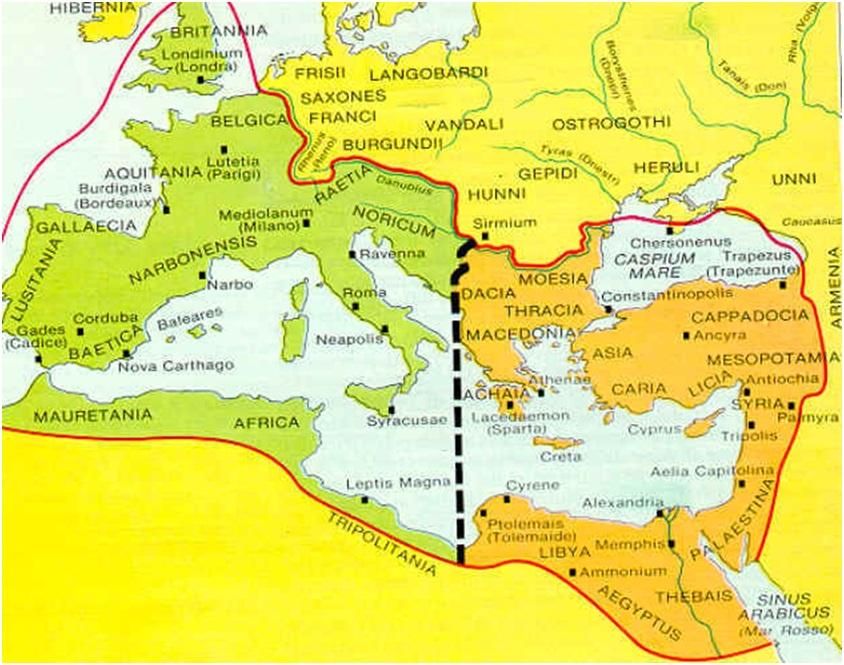 Impero Romano nel 390 dopo la suddivisione di Teodosio I